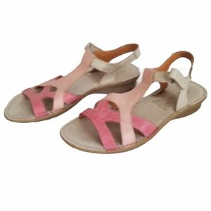 Alce women's pink & tan leather sandals